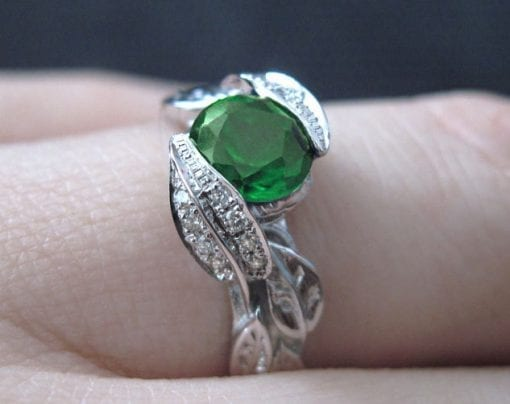 Diamond Leaves Engagement Ring, Emerald Leaf Engagement Ring