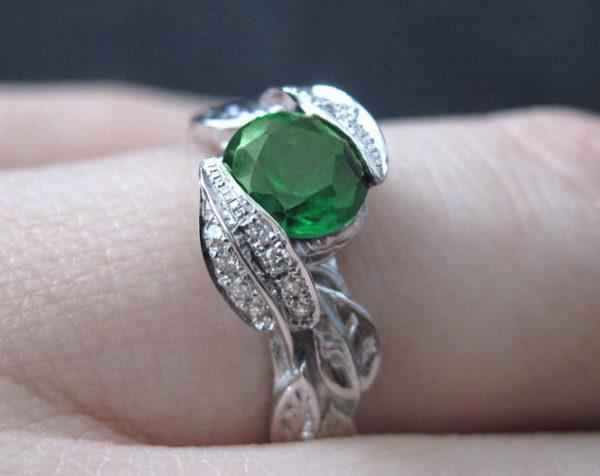 Diamond Leaves Engagement Ring, Emerald Leaf Engagement Ring