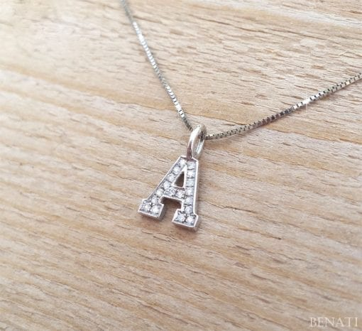 Diamond Letter Necklace, Gold Capital Letter With Diamonds