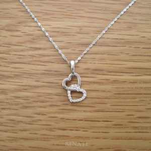 Diamond necklace, White gold heart pendant