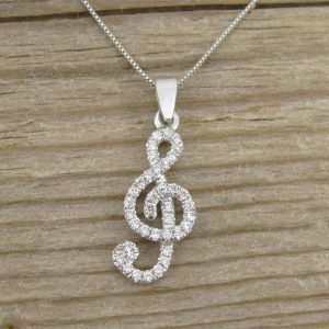 Diamond Pendant, Treble Clef Diamond  Pendant