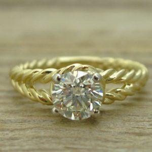 Diamond rope engagement ring, Diamond engagement ring