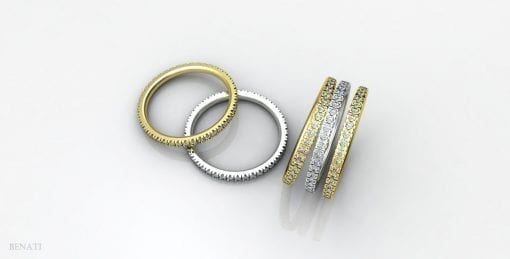 Diamond Stackable Eternity Gold Ring, Diamonds all Around