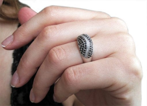 Domed pave black and white ring - high-fashion must have - for a stunning Halloween look - free shipping