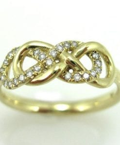 Double Infinity Knot Diamond Ring, Infinity Love Knot