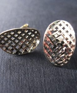 Elegant silver oval stud earrings