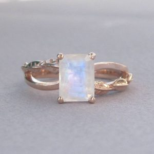 Emerald Cut Moonstone Leaves Engagement Ring, Rose Gold Moonstone Engagement Ring 18k