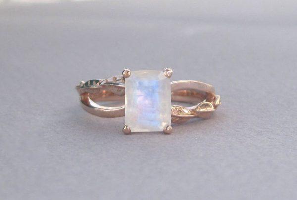 Emerald Cut Moonstone Leaves Engagement Ring, Rose Gold Moonstone Engagement Ring 18k
