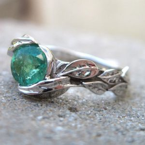 Emerald Engagement Ring, Emerald Leaf Ring