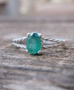 Emerald Engagement Ring, Emerald Oval Braided Rope Engagement Ring