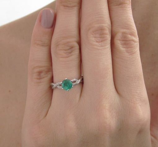 Emerald Engagement Ring, Emerald Wood Engagement Ring