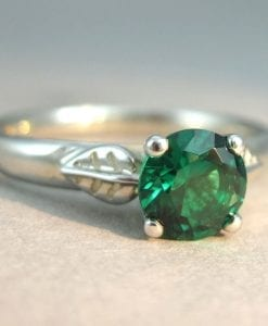 Emerald Engagement Ring, Lab Emerald Leaves Engagement Ring