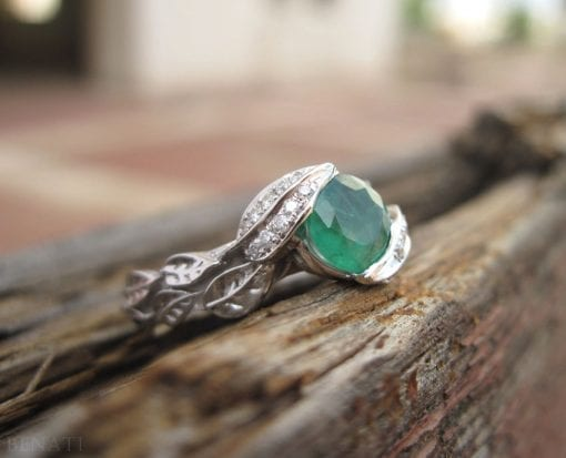 Emerald Engagement Ring, Platinum Emerald Leaves Ring