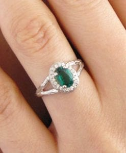 Emerald Halo Twig Engagement Ring, Emerald Wood Engagement Ring