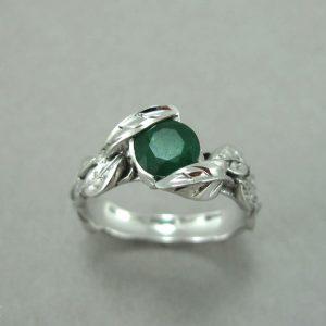 Emerald Leaf Engagement Ring, Emerald Engagement Ring
