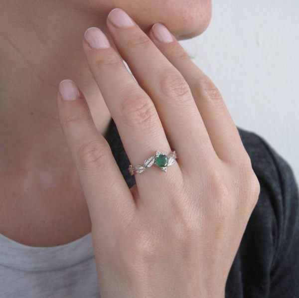 Emerald Leaf Engagement Ring, Emerald Engagement Ring