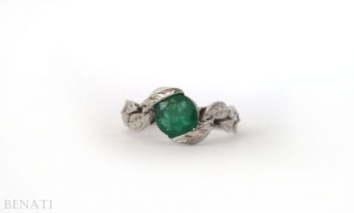 Emerald Leaf Ring, Emerald Engagement Ring