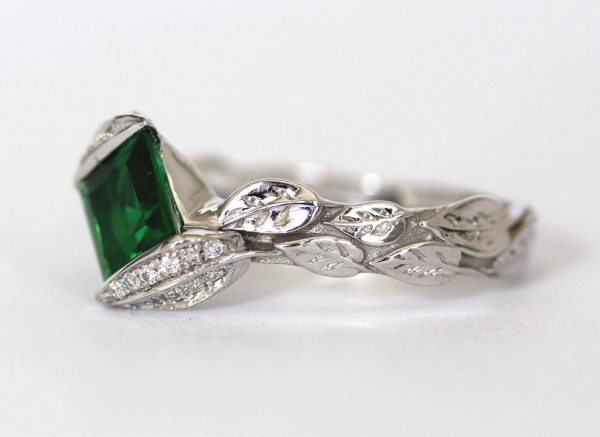 Emerald Leaves Engagement Ring, Emerald Engagement Ring