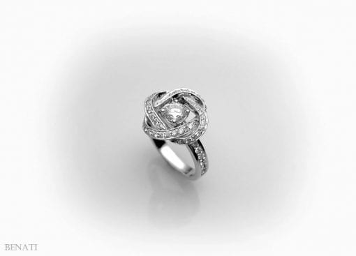 Engagement Infinity knot Diamond Ring - Diamond Engagement Ring - 14k Gold & Diamonds, Braided Diamond Cocktail Ring
