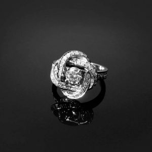 Engagement Infinity knot Diamond Ring - Diamond Engagement Ring - 14k Gold & Diamonds, Braided Diamond Cocktail Ring