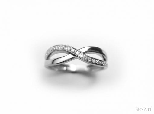Engagement ring set,Diamond infinity knot rings
