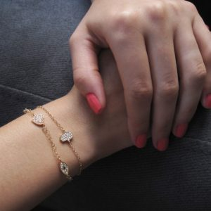 Fine & delicate Hamsa bracelet - protection on your hand - pave setted 14k solid yellow gold hamsa hand - valentines gift - luxury - sale