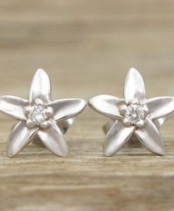 Flower Stud Earrings, Diamond Stud Flower Earrings