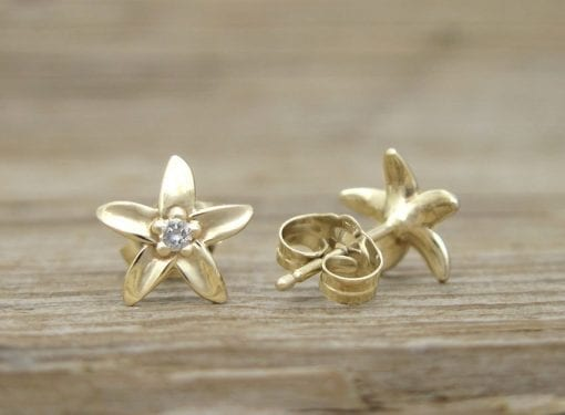 Flower Stud Earrings, Diamond Stud Flower Earrings