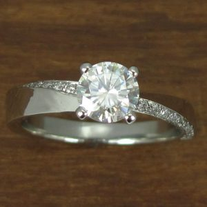 Forever One Moissanite Engagement Ring, Platinum Braided Engagement Ring