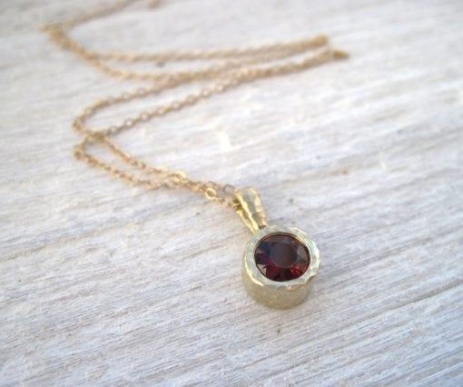 Gold 14k Delicate Link Birthstone Necklace, Hammered Garnet Pendant