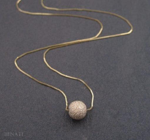 Gold bead necklace, Single bead gold necklace