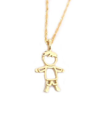 Gold Boy Baby pendant, Child Pendant
