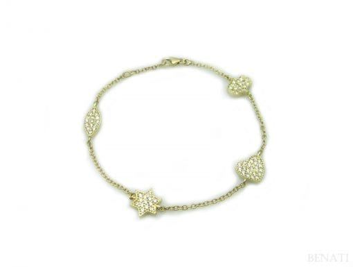 Gold bracelet with Hamsa, Magen David