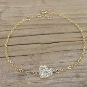Gold Delicate Bracelet, Gold Hart Delicate Bracelet