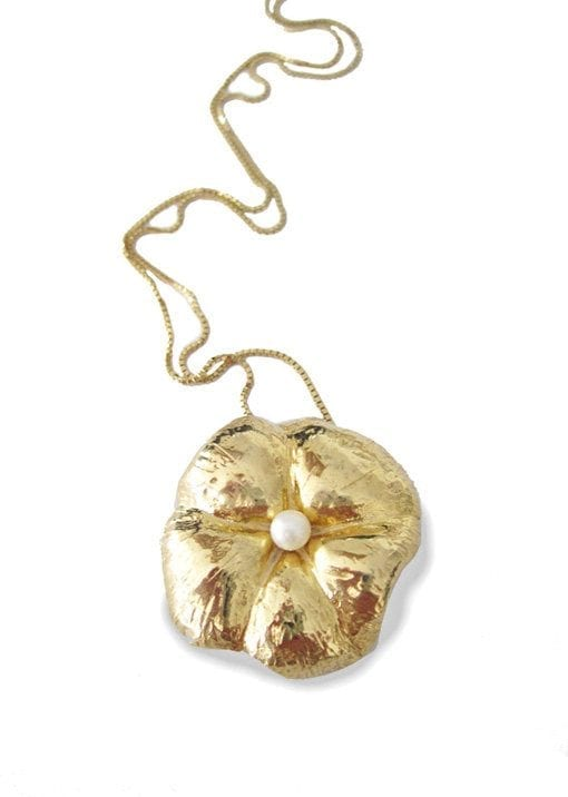 Gold Flower Pendant Statement With Pearl - art, blossom