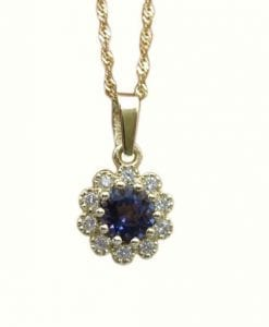 Gold flower setted with diamonds and Iolite, Diamond flower with diamonds