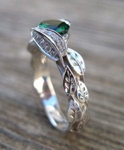 Gold Leaf Ring, Emerald Leaf Engagement Ring