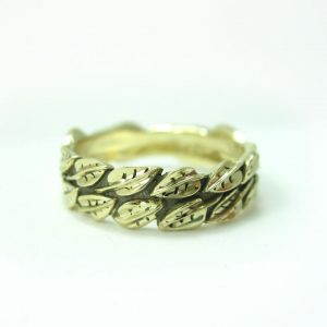 Gold Leaf Ring, Leaf Wedding Band