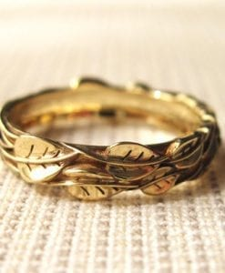 Gold Leaf Wedding ring, Gold Wedding Leaf Ring