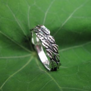 Gold Leaf Wedding Ring, Leaf Ring