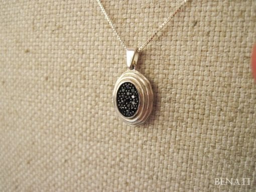 gold pendant Setted With Black diamonds, gold necklace