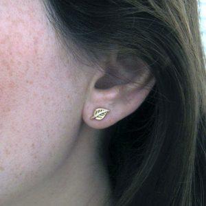 Gold stud leaf earrings, Gold leaf earrings