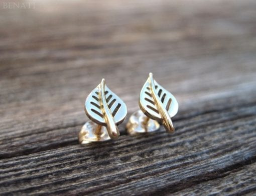 Gold stud leaf earrings, Gold leaf earrings