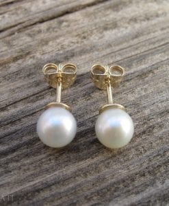 Gold Stud Pearl Earrings, Gold Pearl Earrings