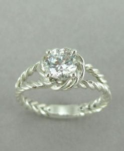 Gold Twisted Rope Diamond Engagement Ring, Moissanite Engagement Ring
