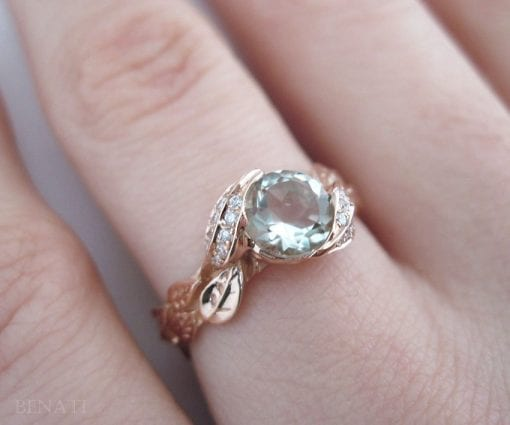 Green Amethyst Engagement Ring, Leaf Engagement Ring