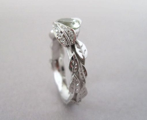 Green Amethyst Leaf Ring, Engagement Leaf Ring