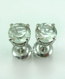 Green Amethyst Stud Earrings, Green Amethyst Earrings