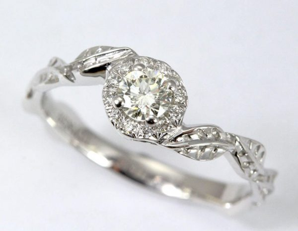 Halo Leaves Engagement Ring, Leaf Diamond Engagement Ring