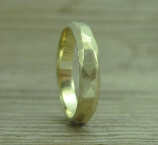 Hammered Gold Wedding Band, Gold Wedding Band
